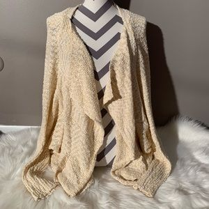 Mittoshop Size M Ivory Open Front Cardigan